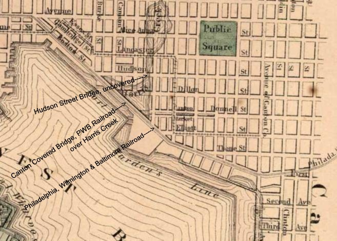 Map of Harris Creek, Canton area in 1865