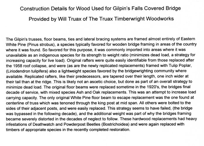 Gilpin's Falls Wood Construction Details