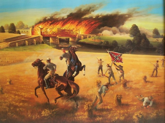 Burning of The Bridge at Monocacy. Painting by Sherry Kemp