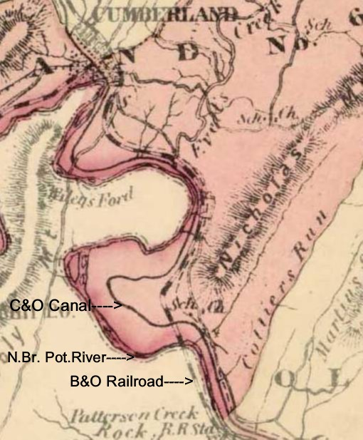 Map of C&O Canal at North Branch